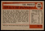 1954 Bowman #105 COR Sal Maglie  Back Thumbnail