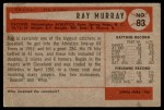 1954 Bowman #83  Ray Murray  Back Thumbnail