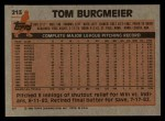 1983 Topps #213  Tom Burgmeier  Back Thumbnail