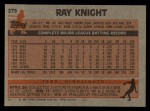 1983 Topps #275  Ray Knight  Back Thumbnail