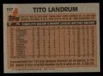 1983 Topps #337  Tito Landrum  Back Thumbnail