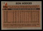 1983 Topps #713  Ron Hodges  Back Thumbnail