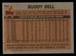 1983 Topps #330  Buddy Bell  Back Thumbnail