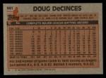 1983 Topps #341  Doug DeCinces  Back Thumbnail
