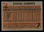 1983 Topps #439  Rafael Ramirez  Back Thumbnail