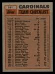 1983 Topps #561   -  Joaquin Andujar / Lonnie Smith Cardinals Leaders Back Thumbnail