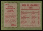 1985 Topps #705  Dave Winfield  Back Thumbnail