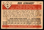 1953 Bowman #20  Don Lenhardt  Back Thumbnail