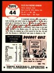 1953 Topps Archives #44  Ellis Kinder  Back Thumbnail