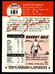 1953 Topps Archives #181  Al Zarilla  Back Thumbnail