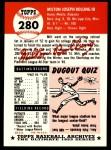 1953 Topps Archives #280  Milt Bolling  Back Thumbnail
