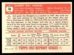 1952 Topps REPRINT #36  Gil Hodges  Back Thumbnail