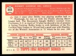 1952 Topps REPRINT #353  Bobby Del Greco  Back Thumbnail