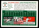 1954 Topps Archives #2  Gus Zernial  Back Thumbnail