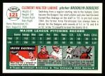 1954 Topps Archives #121  Clem Labine  Back Thumbnail