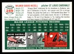 1954 Topps Archives #249  Wilmer Mizell  Back Thumbnail