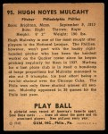 1940 Play Ball #95  Hugh Mulcahy  Back Thumbnail