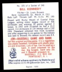 1949 Bowman REPRINT #105  Bill Kennedy  Back Thumbnail