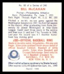 1949 Bowman REPRINT #80  Bill McCahan  Back Thumbnail