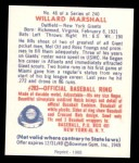 1949 Bowman REPRINT #48  Willard Marshall  Back Thumbnail