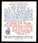 1949 Bowman REPRINT #21  Frank Baumholtz  Back Thumbnail