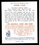 1949 Bowman REPRINT #107  Eddie Lake  Back Thumbnail