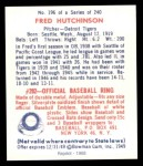 1949 Bowman REPRINT #196  Fred Hutchinson  Back Thumbnail
