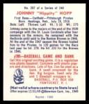 1949 Bowman REPRINT #207  Johnny Hopp  Back Thumbnail