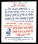 1949 Bowman REPRINT #15  Ned Garver  Back Thumbnail