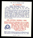 1949 Bowman REPRINT #16  Al Kozar  Back Thumbnail