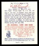 1949 Bowman REPRINT #115  Dutch Leonard  Back Thumbnail