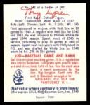 1949 Bowman REPRINT #141  Tony Lupien  Back Thumbnail
