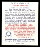 1949 Bowman REPRINT #174  Terry Moore  Back Thumbnail