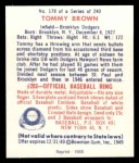 1949 Bowman REPRINT #178  Tom Brown  Back Thumbnail