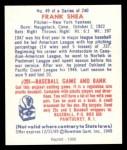 1949 Bowman REPRINT #49  Frank Shea  Back Thumbnail