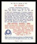 1949 Bowman REPRINT #90  Gil Coan  Back Thumbnail