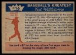 1959 Fleer #16   -  Ted Williams  Greatest Year Back Thumbnail