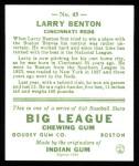 1933 Goudey Reprint #45  Larry Benton  Back Thumbnail