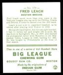 1933 Goudey Reprint #179  Fred Leach  Back Thumbnail