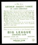 1933 Goudey Reprint #2  Dazzy Vance  Back Thumbnail
