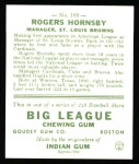 1933 Goudey Reprint #188  Rogers Hornsby  Back Thumbnail