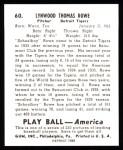 1939 Play Ball Reprint #60  Schoolboy Rowe  Back Thumbnail