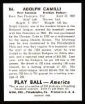 1939 Play Ball Reprint #86  Dolph Camilli  Back Thumbnail