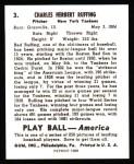 1939 Play Ball Reprint #3  Red Ruffing  Back Thumbnail
