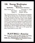 1939 Play Ball Reprint #138  George Case  Back Thumbnail