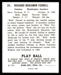 1940 Play Ball Reprint #21  Rick Ferrell  Back Thumbnail