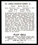 1940 Play Ball Reprint #32  Jim Bagby  Back Thumbnail