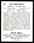 1940 Play Ball Reprint #49  Roy Weatherly  Back Thumbnail