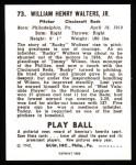 1940 Play Ball Reprint #73  Bucky Walters  Back Thumbnail