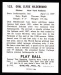 1940 Play Ball Reprint #123  George Hildebrand  Back Thumbnail